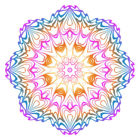 Simple Round Floral Mandala, Ethno Motive. Bright Ornament Consists Of Simple Shapes. Vector Illustration.. For Home Decor, Coloring Book, Card, Invitation, Tattoo. Anti-Stress Therapy Pattern