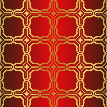 Art Deco Pattern Of Geometric Elements. Seamless Pattern. Vector Illustration. Design For Printing, Presentation, Textile Industry. Chinese red gold color.
