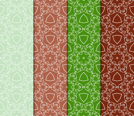 set of art deco GEOMETRIC background. seamless pattern. Vector ILLUSTRATION. For design, wallpaper, textile Illustration
