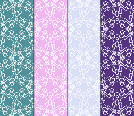 Set of seamless geometric patterns. Color backgrounds collection. Endless repeating linear texture. Vector illustration. For design