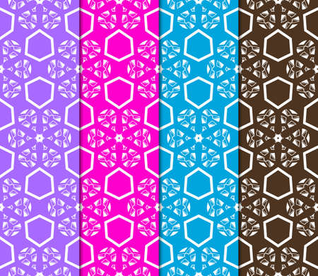 Vertical seamless patterns set, geometric lace texture for Decorative seamless backgrounds. Vector illustration. for design