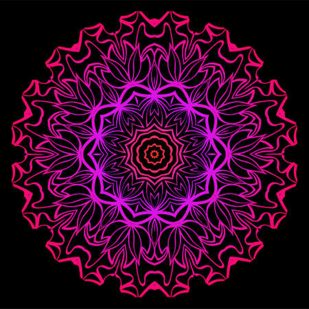 Modern Decorative Floral Color Mandala. Super Vector Round Shapes. Vector Illustration. Black, red purple color.