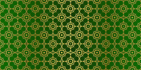 Seamless Patterns Set, Abstract Traditional Geometric Texture. Ornament For Interior Design, Greeting Cards, Birthday Or Wedding Invitations, Paper Print. Ethnic Background In East Style. Green gold.