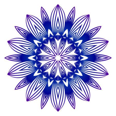 Ethnic Ornamental Mandala. Decorative Design Element. Vector Illustration. Purple blue gradient.