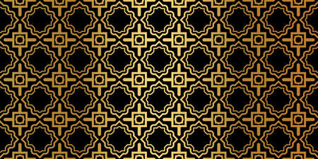 Geometric Seamless Pattern. Modern Traditional Geometric Ornament. Vector Illustration. For The Interior Design, Wallpaper, Decoration Print, Fill Pages, Invitation Card, Cover Book. Black gold color.
