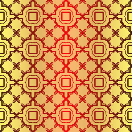 Seamless Geometrical Linear Texture. Original Geometrical Puzzle. Backdrop. Vector Illustration. For Design, Wallpaper, Fashion, Print. Sunrise color.