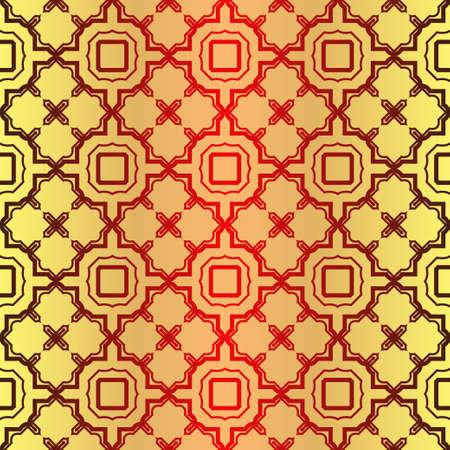 Seamless Geometrical Linear Texture. Original Geometrical Puzzle. Backdrop. Vector Illustration. For Design, Wallpaper, Fashion, Print. Sunrise color.