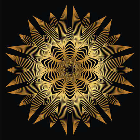 Modern Decorative Floral Mandala. Decorative Cicle Ornament. Floral Design. Vector Illustration. Can Be Used For Textile, Greeting Card, Coloring Book, Phone Case Print. Luxury gold black color.
