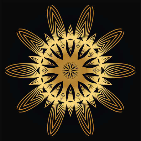 Vector Round Abstract Mandala Style Decorative Element. Hand-Drawn Vector Illustration. Can Be Used For Textile, Greeting Card, Coloring Book, Phone Case Print. Luxury black gold color. Ilustração