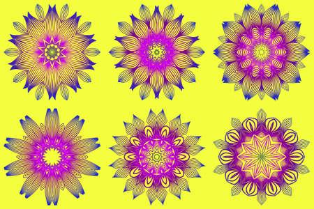 Set of Ornamental Circle Pattern. Sacred Oriental Mandala. Color Floral Ornament. Vector Illustration. For Coloring Book, Greeting Card, Invitation, Tattoo. Yellow purple color. Illusztráció
