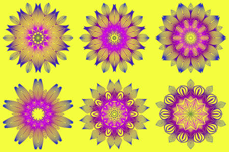 Set of Ornamental Circle Pattern. Sacred Oriental Mandala. Color Floral Ornament. Vector Illustration. For Coloring Book, Greeting Card, Invitation, Tattoo. Yellow purple color. Illustration