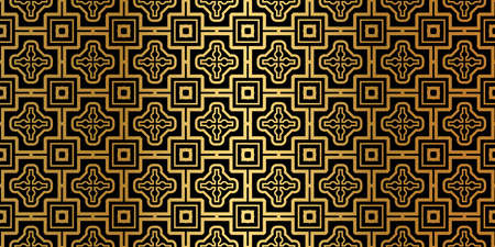Luxury Traditional Ornamental Design. Modern Seamless Geometry Pattern. Vector Illustration. For Interior Design, Printing, Web And Textile Design. Black gold color.