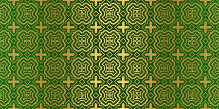 Geometric Modern Luxury Ornament. Seamless Vector Pattern. For Wallpaper, Invitation, Fashion Design. Green gold color.