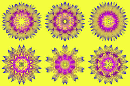 Set of Vector With Mandala Pattern. Repeating Sample Figure And Line. Modern Decorative Floral Color Mandala. Yellow purple color. Illustration
