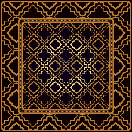 Decorative Pattern With Geometric Ornament. Perfect For Printing On Fabric Or Paper. Vector Illustration. Black bronze color. Illustration
