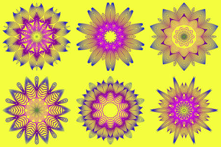 Set of Ornamental Circle Pattern. Sacred Oriental Mandala. Color Floral Ornament. Vector Illustration. For Coloring Book, Greeting Card, Invitation, Tattoo. Yellow purple color. Imagens - 124954154