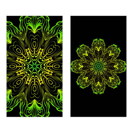 Invitation Or Card Template With Floral Mandala Pattern. Decorative Background For Wedding, Greeting Cards, Birthday Invitation. The Front And Rear Side. Black green color.