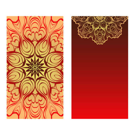 Luxury red, sunrise, gold color The Front And Rear Side. Mandala Design Elements. Wedding Invitation, Thank You Card, Save Card, Baby Shower. Vector Illustration Vectores