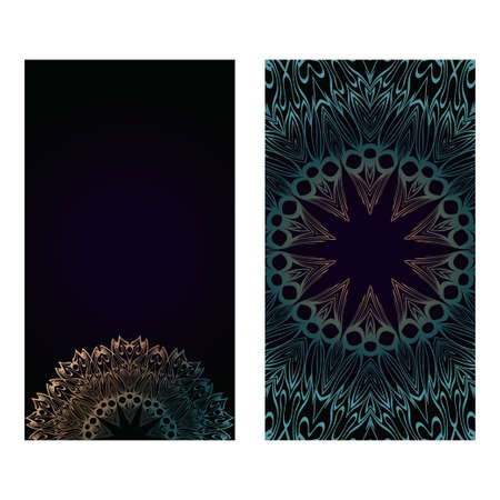 Vector Mandala Pattern. Two Template For Flyer Or Invitation Card Design. For Banners, Greeting Cards, Gifts Tags. Dark brown green color. Illustration