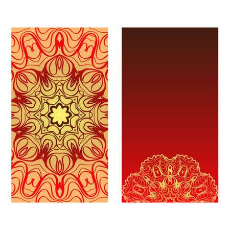 Luxury red, sunrise, gold color The Front And Rear Side. Mandala Design Elements. Wedding Invitation, Thank You Card, Save Card, Baby Shower. Vector Illustration Ilustração