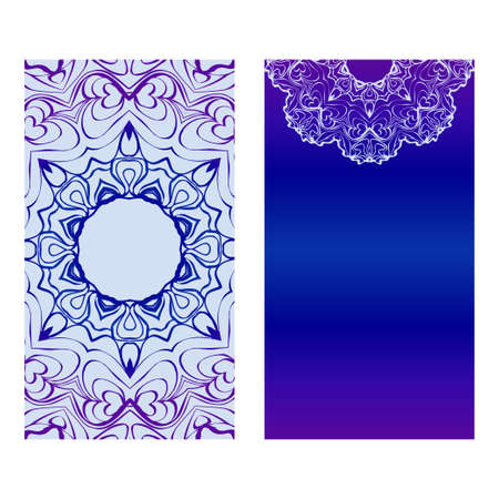 Vector Mandala Pattern. Two Template For Flyer Or Invitation Card Design. For Banners, Greeting Cards, Gifts Tags. Blue silver purple color.