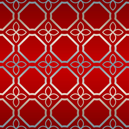 Vector Seamless Pattern With Abstract Geometric Style. Repeating Sample Figure And Line. Paper For Scrapbook. Red silver color.