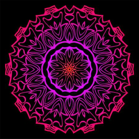 Modern Decorative Cicle Shapes. Floral Mandala. Vector Illustration. Black, red purple color.