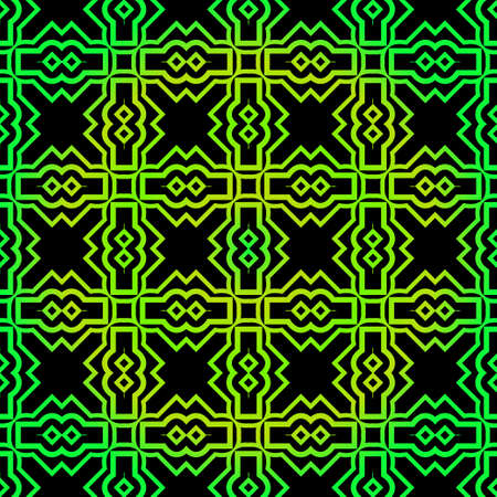 Seamless Pattern With Geometric, Triangle, Zig Zag. Vector Background, Texture. For Design Invitation, Interior Wallpaper, Cover Card, Technologic Design. Green black color. Ilustração