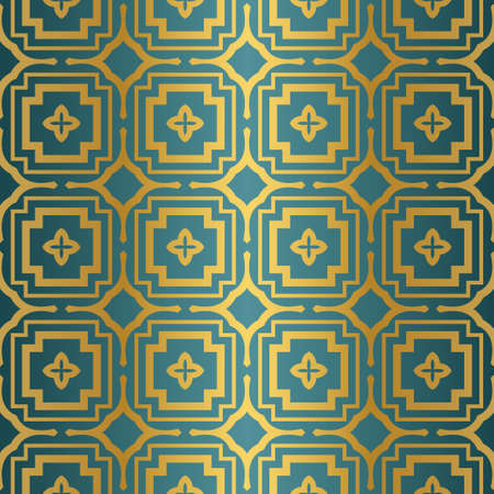 Geometric Seamless Pattern. Modern Ornament. Vector Illustration. For The Interior Design, Wallpaper, Decoration Print, Fill Pages, Invitation Card, Cover Book. blue gold color.