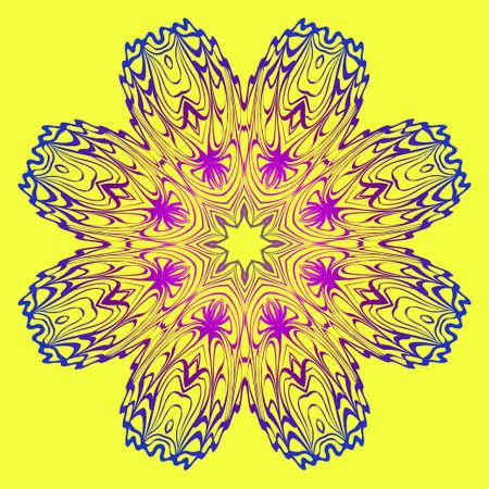 Modern Geometric Ornament. Floral Style. Artdeco. Vector Illustration For Design. Yellow, purple color.