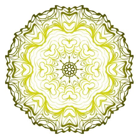 Relaxing Floral Mandala Ornament. Vector Illustration. Print For Modern Yoga Interiors Design, Wallpaper, Textile Industry. Green olive gradient color. Illusztráció