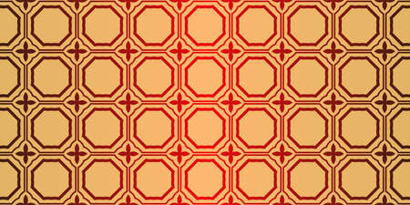 Traditional geometric Ornament. Seamless Vector Pattern. Interior Decoration, Wallpaper, Invitation, Fashion Design. Sunrise red color.