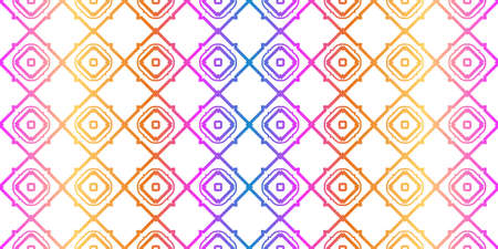 Unique, Abstract Geometric Pattern. Seamless Vector Illustration. For Fantastic Design, Wallpaper, Background, Fantastic Print. Rainbow neon gradient color. Ilustração