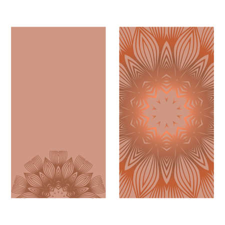 Visit Card Template With Floral Mandala Pattern. Vector Template. Islam, Arabic, Indian, Mexican Ottoman Motifs. Hand Drawn Background. Brown color.