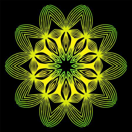 Round Pattern Flower Mandala. Circle Floral Ornament. Decorative Illustration. Black green yellow color