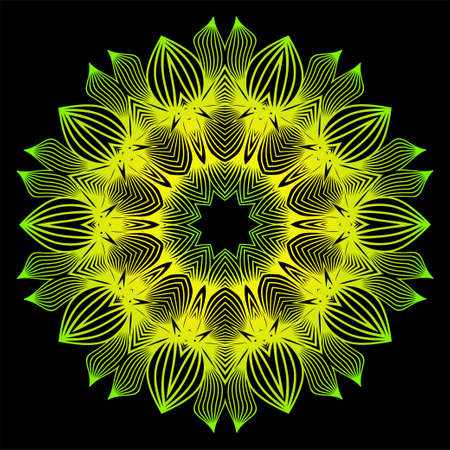 Round Pattern Flower Mandala. Circle Floral Ornament. Decorative Illustration. Black green yellow color