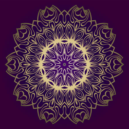 Design Floral Mandala Ornament. Vector Illustration. For Coloring Book, Greeting Card, Invitation, Tattoo. Anti-Stress Therapy Pattern. Luxury purple gold color.