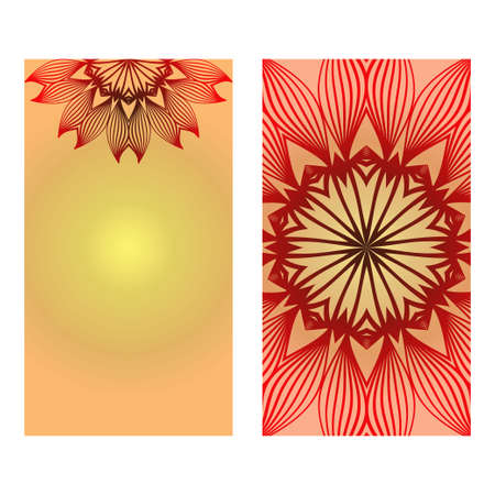 Ethnic Decorative Flyers With Floral Mandala. Templates Vector Illustration.Luxury sunrise gold color.