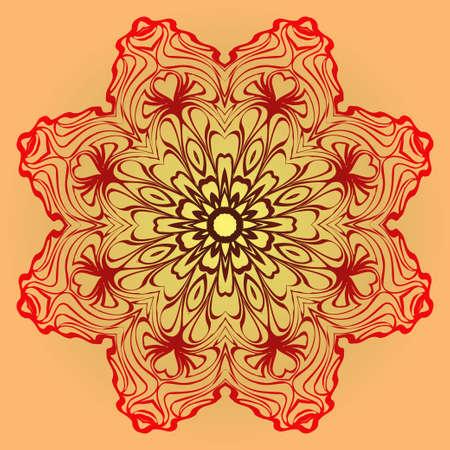 Hand-Drawn Ethnic Mandala. Circle Lace Ornament. Vector Illustration. For Coloring Book, Greeting Card, Invitation, Tattoo. Red, orange sunrise color. Illustration