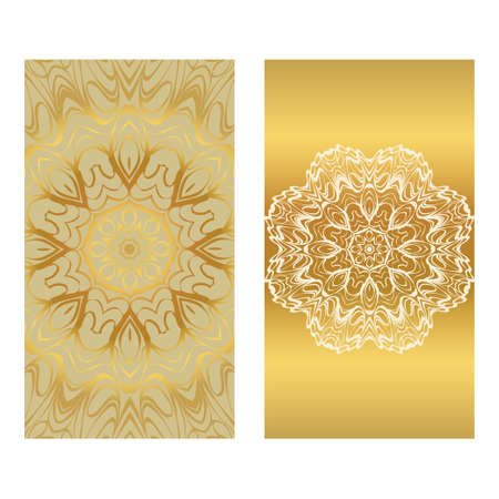 Card Template With Floral Mandala Pattern. Business Card For Fitness Center, Sport Emblem, Meditation Class. Vector Illustration. Gold color. Illustration