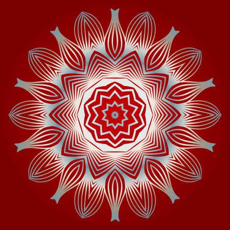 Pattern Of Mandala. Vector Illustration. Modern Decorative Floral Color Mandala. Decorative Circle Ornament. Floral Design. Red white silver colour