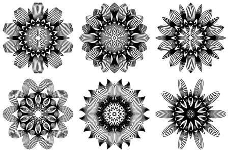 Set of Pattern Of Mandala . Vector Illustration. Modern Decorative Floral Color Mandala. Decorative Cicle Ornament. Floral Design. Black white color. Illustration