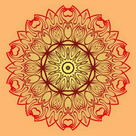 Vector Illustration. Modern Decorative Floral Mandala. Hand Drawn Background. Islam, Arabic, Indian, Ottoman Motifs. Sunrise color. Vetores