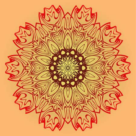 Vector Illustration. Modern Decorative Floral Mandala. Hand Drawn Background. Islam, Arabic, Indian, Ottoman Motifs. Sunrise color.