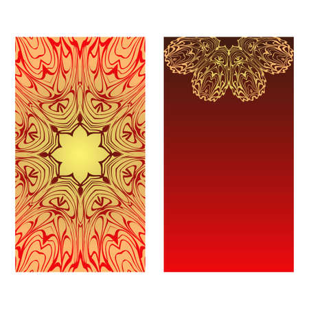 Templates For Greeting And Business Cards. Vector Illustration. Oriental Pattern With. Mandala. Wedding Invitation. Luxury red, sunrise gold color. Illustration