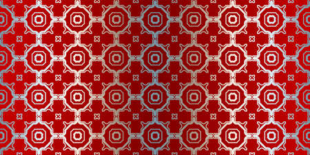 Vector Seamless Pattern With Abstract Geometric Style. Repeating Sample Figure And Line. Paper For Scrapbook. Silver red color.