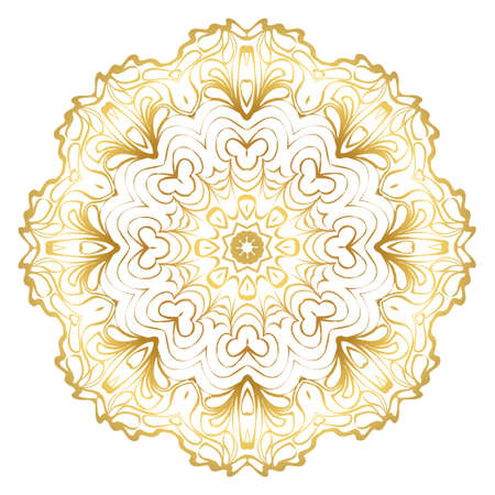 Luxury Art Deco Floral Pattern. Mandala Design. Vector Illustration. Oriental Pattern. Indian, Moroccan, Mystic, Ottoman Motifs. Anti-Stress Therapy Pattern. Gold color. Illustration