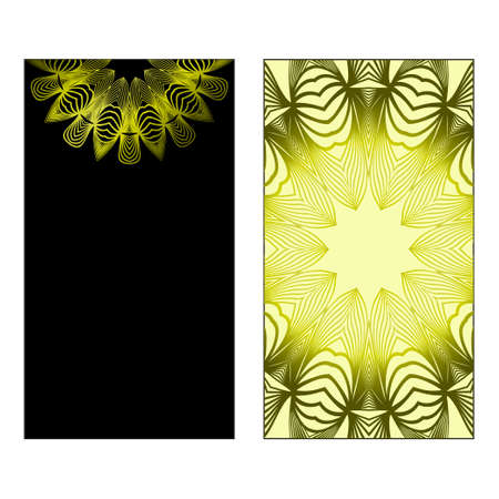 Vector Mandala Pattern For Template, Flyer Or Invitation Card. Black olive color. Vectores