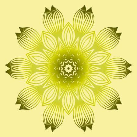 Vector Floral Mandala. Vintage Decorative Elements. Vector Illustration. Yellow gold dreen