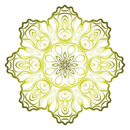 Relaxing Floral Mandala Ornament. Vector Illustration. Print For Modern Yoga Interiors Design, Wallpaper, Textile Industry. Green olive gradient color.